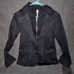 Mur Mur-Black/Hooded Full Zip Fitted Blazer Jacket